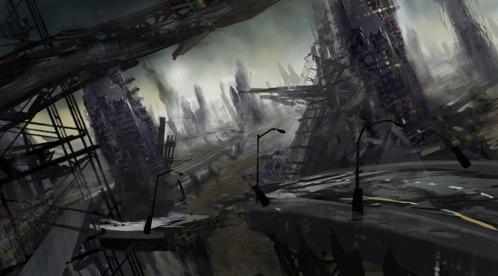 wreckage cityscape