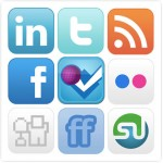 Social media logos - Facebook, Stumbleupon, Twitter, Foursqaure, Digg, Chicklet and others.