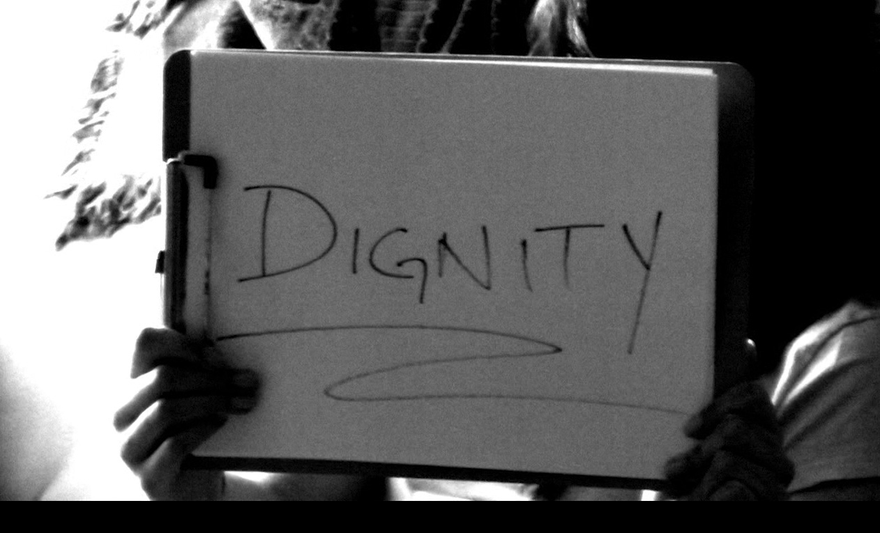 "Still image featuring handwritten claim for dignity form the official video for the song ""Talking To An Angel"" by Jim Yackel"